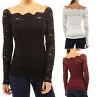 idomcats Off Shoulder blouse Square Neck Sexy Crochet lace Shirt Top Size 6-18