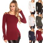 Women's Lace-Up Pullover Sweater - OS (S/M/L)