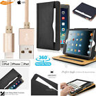 Soft Leather Stand Folio Case+8 Pin MFi Lightning Metal Cable iPad 23456/ Air 12