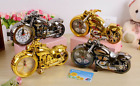Retro Motorcycle Alarm Clock Home Office Table Ornaments Quartz Decoration