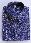 Ex M&S REGULAR FIT DARK BLUE PAISLEY SHIRT SUPIMA COTTON  14.5-18.5 B14