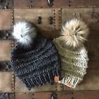 Hand Knit Ridge Beanie Faux Fur Pom Pom Bulky Wool Blend Handmade Hat