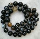 Black Vein Stripe Agate Round Loose Beads 4mm 6mm 8mm 10mm 12mm 14mm 16mm 15.5""