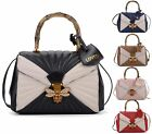 LADIES QUILTED FAUX LEATHER DIAMANTE BEE LOCK TOTE BAMBOO HANDLE CLASP HANDBAG
