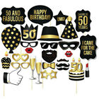 28pcs Happy Birthday Photo Booth Props Set Party Black Gold 30th 40th 50th