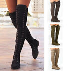 Women Lady Over Knee Boots Flat Low Heel Slip-on Lace-up Strappy Shoes Plus Size