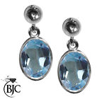 BJC® 9ct White Gold Natural Blue Topaz Oval Single Drop Dangling Studs Earrings