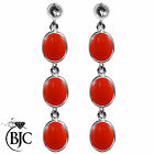 BJC® Sterling Silver Natural Peach Coral Triple Drop Dangling Studs Earrings
