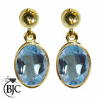 BJC® 9ct Yellow Gold Natural Blue Topaz Oval Single Drop Dangling Studs Earrings