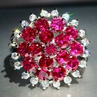 Exquisite New Red Corundum 925 Silver Filled Birthstone Engagement Wedding Rings