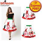 K473H Christmas Skirt High Waist Skater Retro Flared Xmas Rockabilly Vintage 50s