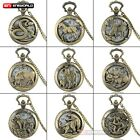 12 Styles Animal Bronze Pocket Watch Quartz Necklace Pendant Chain Mens Antique image