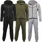 Mens Tracksuit Sweatshirt Hoodie Top Joggers Bottom Zip Winter Fleece Lined New