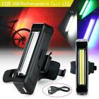 COB LED Bicycle Bike Cycling Front Rear Tail Light USB Rechargeable 6 Modes