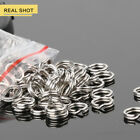 50/100/200Pc Fishing Solid Stainless Steel Snap Split Ring Lure Tackle Connector