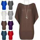 Womens Ladies Dipped Hem Batwing Sleeve Oversized Baggy Round Neck High Low Top