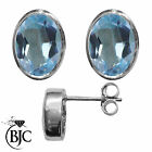 BJC® Sterling Silver 925 Natural Blue Topaz Oval Stud Earrings 3.00ct Studs