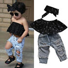 Fashion Toddler Baby Girls Black Blouse Top Hole Casual Denim Pants Outfits Set