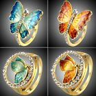 Valentine's Day Gift Gold Tone Crystal Butterfly Ring Women Costume Jewelry New