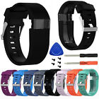 Replacement Wrist Band Silicon Strap Clasp+Protector Film For Fitbit Charge HR