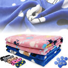 Premium Flannel Pet Blanket Small Paw Print Cat Dog Puppy Warm Bed Mat Cushion