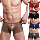 Sexy Men's Leather-Like Underwear Male Cool Boxer briefs Shorts Trunks Swimwear