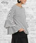 NWT Boutique Umgee Striped Bell Sleeve Tee - Black & Ivory - S, M, L, XL, 1X 2X