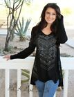 nujhVOCAL PLUS SIZE CRYSTAL BLACK FLORAL AZTEC TUNIC SHIRT BLOUSE USA 1X 2X 3X