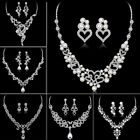 Women Crystal Pearl White Gold GP Necklace Earrings Wedding Bridal Jewelry Set