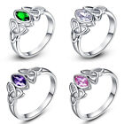 Fleur De Lis Amethyst Pink White Toapz Gems Silver Ring Wholesale Jewellry Gift