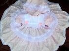DREAM GIRLS ROMANY TRADITIONAL PINK SPOT  FRILLY NETTED DRESS & PANTS 0-2 YEARS