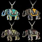 Vintage Crystal Animal Elephant Pendant Women Necklace Long Chain Jewelry Gift