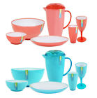 Outdoor Dining Set Melamine Bowl Jug Pitcher Plate Wine Glasses 20 Piece BBQ