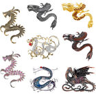Large Antique Crystal Element Rhinestone Vintage Dragon Jewelry Pin Brooch  image