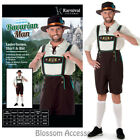 CL978 Bavarian Man Lederhosen Oktoberfest Fancy Dress Mens Costume + Hat Outfit