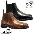 MENS LEATHER CHELSEA BROGUE BOOTS ANKLE DEALER BIKER FORMAL WORK SHOES SIZE NEW
