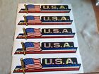 "Set of 5 U.S.A. American Flag Bumper Sticker 3""X12"" - Rainbow Look - Free Ship"