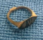 GENUINE ANCIENT ROMAN BRONZE RING DECORATED ENGRAVED DESERT PATINA