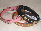 FRENCH BULL-DOG LEATHER COLLAR WITH BRASS HEADS 20""
