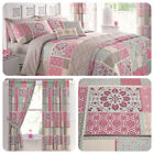 Dreams & Drapes SHANTAR Pink Moroccan Patchwork Curtains Duvet Cover Bedding Set