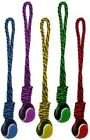 """Multipet Nuts for Knots ROPE TUG TENNIS BALL Dog Toy 20"""" COLORS VARY"""