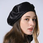 women 2018 real sheep leather round shape adjustable Berets hat cap