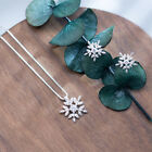 Sterling Silver Snowflake Earrings Studs Necklace Pendant Frozen Snowflake