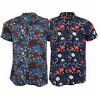Mens Hawaiian Floral Shirt Brave Soul Dragon Orient Print Koi Fish Short Sleeved