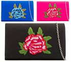 WOMENS LADIES SATIN EMBROIDED DIAMANTE FLOWER PROM ENVELOPE EVENING CLUTCH BAG