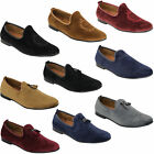 Mens Shoes Slip On Italian Designer Loafers Suede Look Tassels Moccasin Style