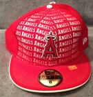 ANGELS New Era MLB 59FIFTY Fitted Hat Fadeout Red w/ Writing Mens Size 8
