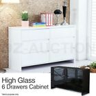 High Gloss 6 Chest Drawers Dressers Cabinet Storage Buffet Sideboard Table