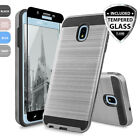 For Samsung Galaxy J7 2015 Brushed Armor Rubber Phone Case+Tempered Glass Screen