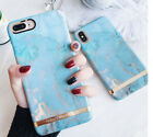 Blue Marble Stone Pattern Golden edge Hard Phone case for iphone 6 6s 7 8 plus X